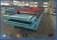 Double Layer Colored Steel Roof Roll Forming Machine With Uncoiling SGS Approved